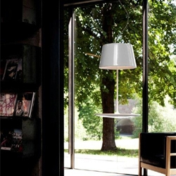 Illusion lamp by Hareide Design for Northern Lighting hovers above the ground, challenging our perceptions of gravity.