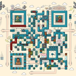 A collection of illustrated QR codes created by Cape Town-based creative studio 'Am I Collective' for a promotional calendar by Rediffusion India.