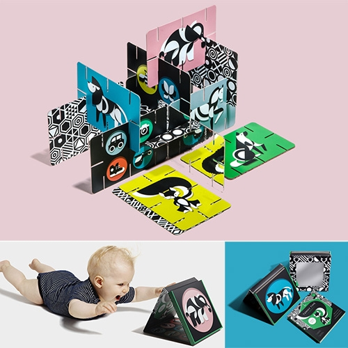 Giantsuper kids products by Paul Lee Design - Beautiful illustrations and smart designs. Especially the Construct-O-Cards Tummy Time Flash Cards and Tummy Time Playboard + Art Cards (that can pop up with magnets) and have mirrored surfaces.