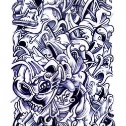 The Bolycaos are multidirectional and multistyle ballpen 'chaotic' illustrations. By Jope.
