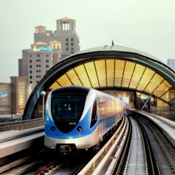Dubai's new metro that is 52 kilometers (roughly 32 miles) of track with 29 stations.
