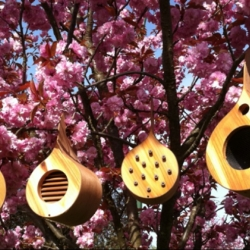 Treedrops - Lovely hanging wooden bird feeders, bee houses, light wells and ladybug huts. Made from recycled wood.