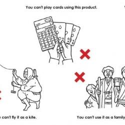 Hilarious product warning images from Japanese electronics company Amadana.