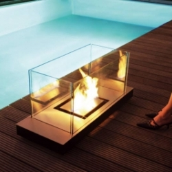 """Uni Flame."" Super sleek indoor-outdoor fireplace by Radius Design."