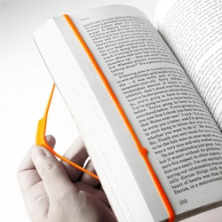 Bookmark II is a colorful rubber band that wraps around a book with an indicator arrow that shows you the last line you were reading (nice line choice BTW)...
