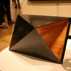 """Rosie Li's ebonized ash """"Anti-Prism"""" table and other standouts from the opening of RISD Exposé, a popup store of RISD student work for the holidays"""