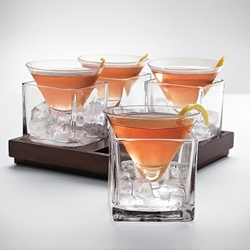 The Cubist Martini Set is a must have for Martini lovers. The one thing they all agree on is that martinis should be served icy-cold. These Martini glasses are designed to sit between sips in ice-filled glass cubes.