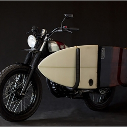 The team at Deus Ex Machina designed and built a custom motorcycle with a surf rack!!