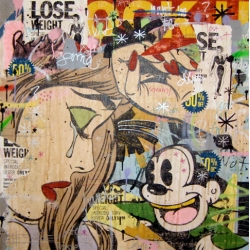 A explosive mash-up of american icons, comics, street sign and pieces of books. The Greg Gossel's artworks.