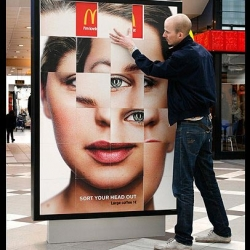 "Mc Donald`s | Puzzle  > Outdoor interactive to promote coffee (great) per 1 euro of Mc Donald `s. Created by DDB Stockholm, has the signature ""sort your head"" - Wake."