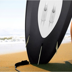 Wavejet announced a surfboard that has a built-in engine. The propulsion system uses an electric motor powered by a battery that can triple the average speed of the paddle.