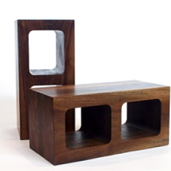 traditional cinder block made of walnut wood.