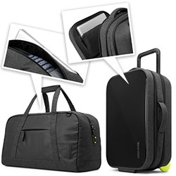 Incase EO Travel Collection - incredibly thoughtful carryons designed to house/protect your tech, with great details to get you through security quickly with laptops, ipads, etc...