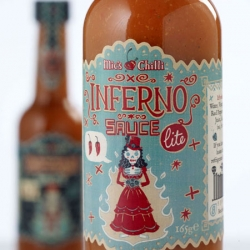 Great Día de los Muertos style packaging for Mic's Chilli sauce by Steve Simpson. Looks fiery!!!