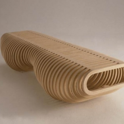 the infinity bench, by carl fredrik svenstedt for lerival has just been presented in ICFF 2009.  the rings are serial, concentric hoops, like the layers of an onion, cut from less than 3.4 m² of flat furniture-grade plywood using CNC technology.