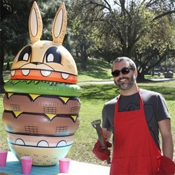 "Joe Ledbetter/The Loyal Subjects Burger Bunny Inflatable! 62"" tall!"