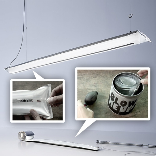 Ingo Mauer's Blow Me Up inflatable LED light. Packaged in a can - just open, inflate, plug in, and suspend!