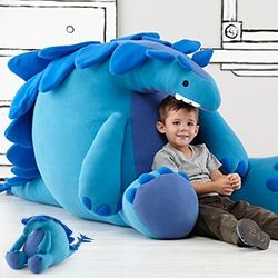 "Land of Nod Paleo Plush is a 44"" tall dino! (There's also a huge robot with tools and a ballerina hippo) Designed by artist John Murphy. This is definitely the year of HUGE stuffed animals - like Costco's monster stuffed bear."