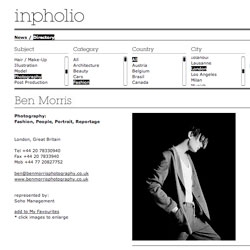 we finally launched inpholio, a portfolio and news database for photographers, art-directors, stylist s, etc. we focus on the best possible presentation of the work (big images, no disturbing ads) and easy navigation.
