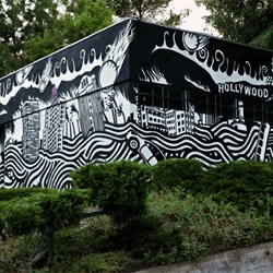 XL Records' offices in LA have been used to create extraordinary animated 'gif-iti' artwork for the launch of the new Atoms For Peace album