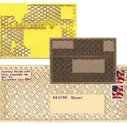 Insecurity Envelopes- a series of laser-cut envelopes that JK Keller developed based on the patterns printed inside security envelopes.