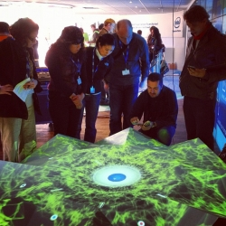 SuperUber releases interactive mapped sculpture in Barcelona during the Mobile World Congress.