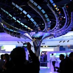 The Intel booth at the 2013 CES was created by The Lab at Rockwell and used 176 Intel Ultrabooks all connected together to create digital blossoms controllable by touch screens at the base.