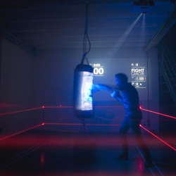 Interactive punching bag lets you step in the ring and fight with your loved ones against cancer.  A full Led and sensor equipped punchbag that raises donation for research, punch by punch .