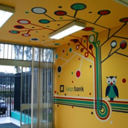 Wall art in a training center of a very important bank in Lima, Peru.