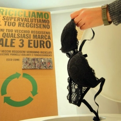 Leave it to an Italian intimates company (Intimissimi) to trade one kind of stuffing for another: by recycling used bras into soundproof building insulation.