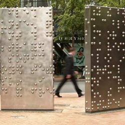 The Invisible City - Superb urban sculpture in Wellington by artist Anton Parsons. Two steel slates covered with a braille message. Check out a close up at http://www.flickr.com/photos/ peter_from_wellington/519693491/