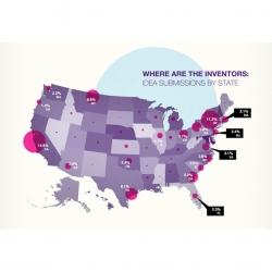 Where in the inventors? Idea submissions by state are part of this infographic from Quirky.