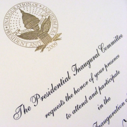 Information on the paper choice for the official Inauguration 2009 invitation, and an awesome video about the printing of all 1,000,000 invites!