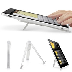 Twelve South's Compass iPad stand... a beautifully sleek easel that works at various angles - and it has a cute little travel case too.