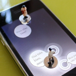 Paris based volumique create (i)pawn, an iphone app that allows users to interact with miniature figurines in a game full of constantly updated adventures.