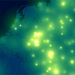 Beautiful firefly-like visualizations of iPhone-tracking data by Michael Kreil.