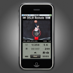 The DSLR Remote iPhone app is very handy for Canon photographers.You can trigger your PC wiresynced Cam with your iPhone, even adjust settings and see a preview of the taken picture on the iPhone Screen.
