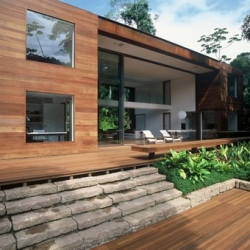 Architects own home - Arthur Casas has created the perfect tropical forest retreat. Contrasting the thick chaotic nature of the forest, the house is simple and symmetrical, yet integrated with its surroundings.