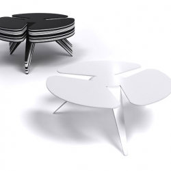 Iris by Michaël Bihain is a coffee table that you can pile. It is made from a single sheet of steel and comes in black or white. [Editor's Note: looks like a lesser version of Ross Lovegrove's in #9166]