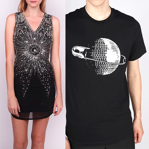 Any Old Iron Nashville from designer/stylist, Andrew Clancey. Shown here: Safety Punk Dress and Disco Planet T-Shirt