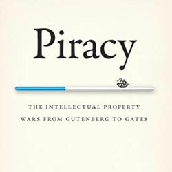 Very clever minimalist cover design by Isaac Tobin, for the book entitled 'Piracy'. A handy book that's all about intelectual property from the time of Guntenberg to Gates.