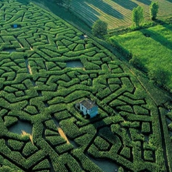 Isabelle de Beaufort and Bernard Ramus created a maze in Cordes-sur-Ciel, France with a house hiding inside...