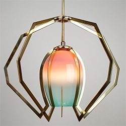 """Vise Light by Bec Brittain - """"Vise captures a hand-blown glass globe within brass claws machined to follow the gentle curvature of the glass."""""""