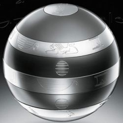 The ISIS orb is designed to be the world's most difficult puzzle. It's solved by moving aluminum bands covered with hieroglyphics, but each one has its own unique solution.
