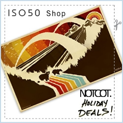 New addition to the NOTCOT Holiday Coupon Book! Scott over at ISO50 has generously offered you 30% off at his store of gorgeous posters, shirts, and music! Use the code NOTCOT08 (not combinable with other offers)