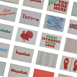 From Istanbul With Love postcards ~ designed by Ulas Ugur and silk-screen printed on thick cardboard