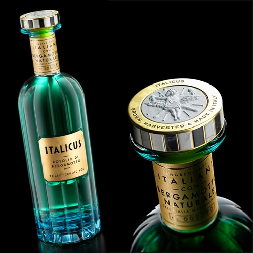 Italicus packaging by Stranger & Stranger. This Rosolio di Bergamotto is based on a century old Italian recipe that was the drink of kings!