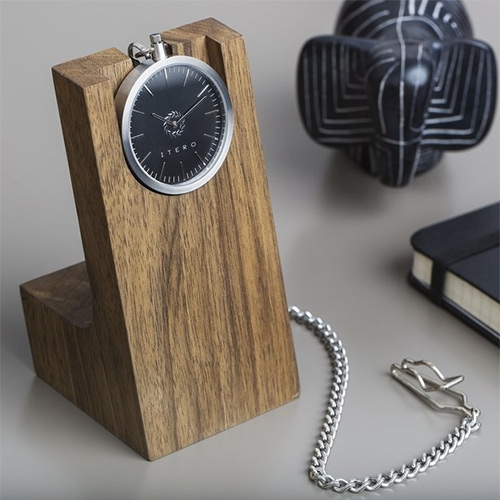 Itero Pocket Watch and Walnut Wood Stand. A beautiful way to display/use your pocket watch more regularly.