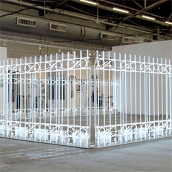 Ivan Navarro's 'The Armory Fence' at New York's Paul Kasmin Gallery at this year's armory show.