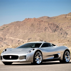 Jaguar C-X75 hybrid electric concept car gallery. 0 to 60mph in 3.4 seconds, 68 miles in full electric mode. The concept car could become a reality in 3-4 years.